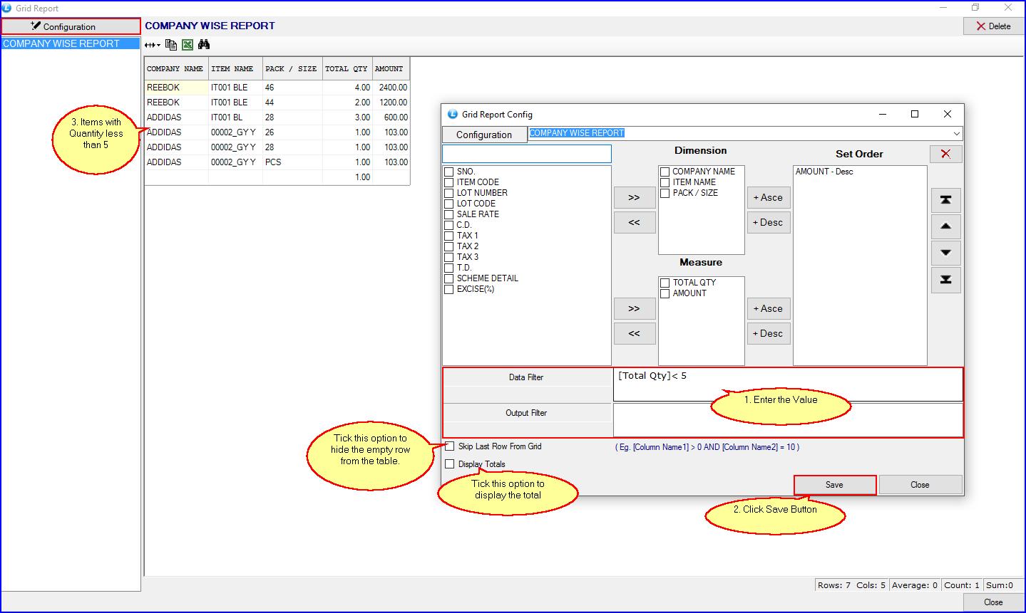 Filter option -- Grid Report Configuration