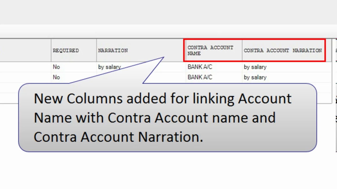 Contra Account Name Column added in Setup Journal Voucher Template