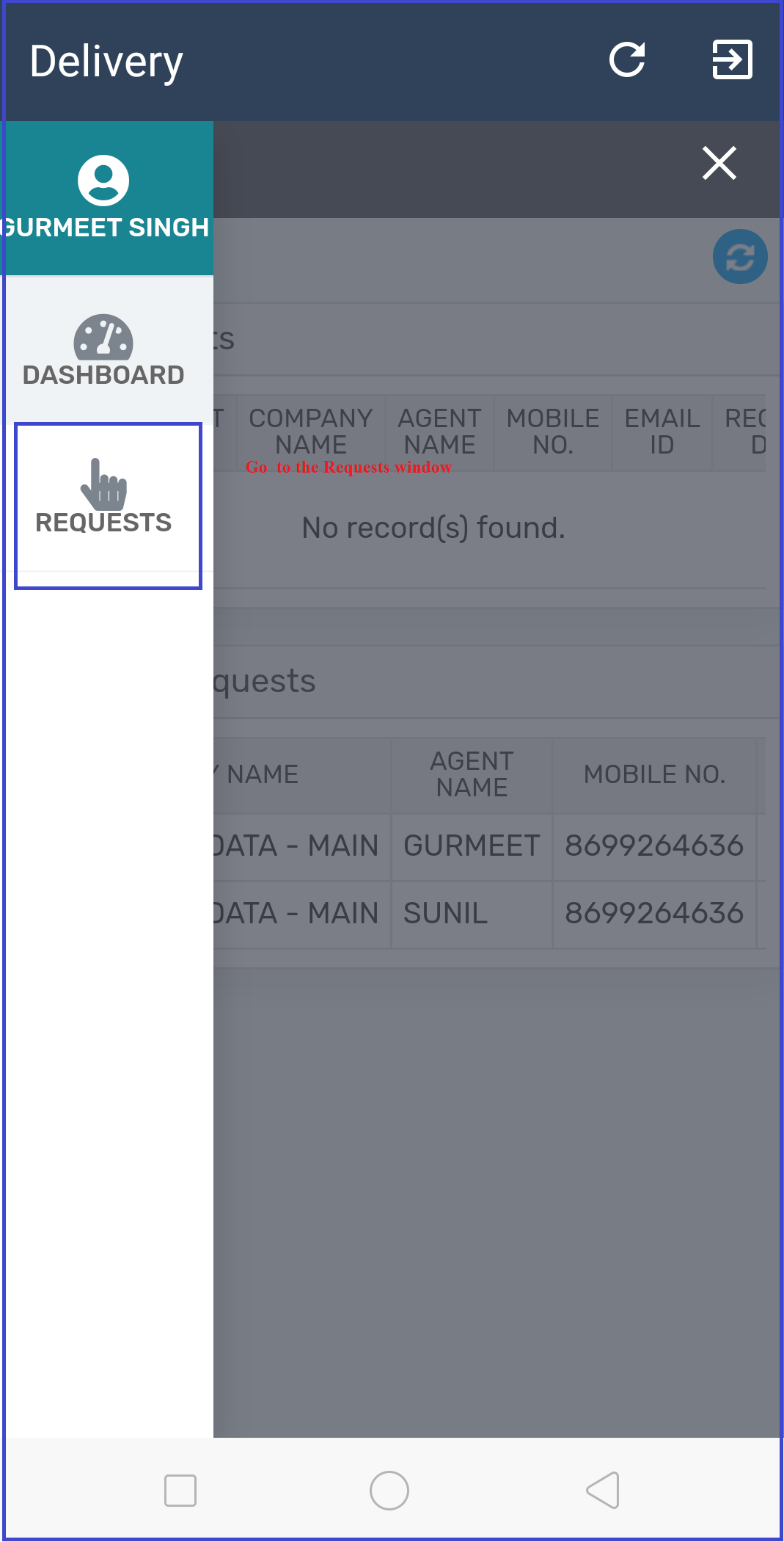 Requests-In-Mobile-App