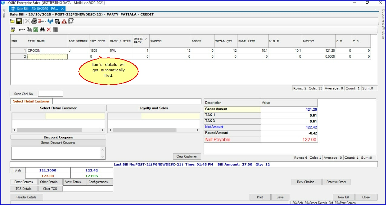Sale Bill - Patient Item Details